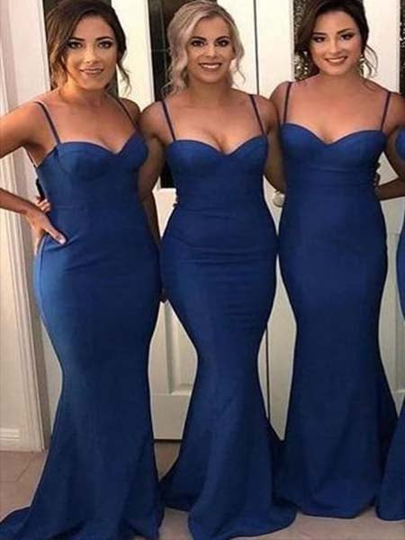 Floor Length Bridesmaid Dresses with Spaghetti Straps BM025 - LaRovias