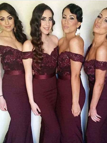 Mermaid Off the Shoulder Bridesmaid Dresses BM028 - LaRovias