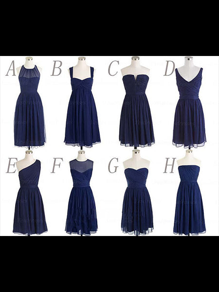 Navy Blue Short Chiffon Bridesmaid Dresses BM002 - LaRovias