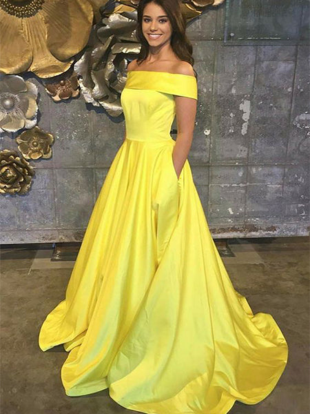 Satin Off the Shoulder Prom Dresses Formal Dresses Wedding Party Dresses LPD303 - LaRovias