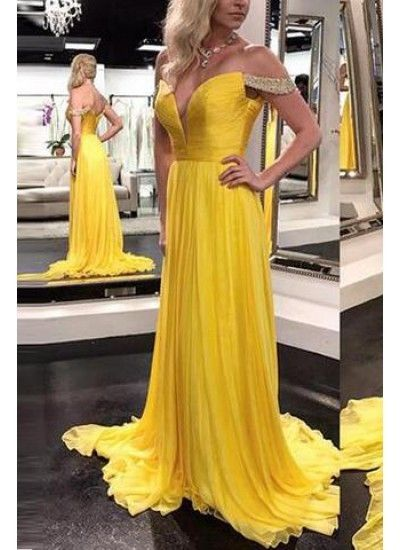 Off the Shoulder Chiffon Prom Dresses Formal Dresses Wedding Party Dresses LPD304 - LaRovias