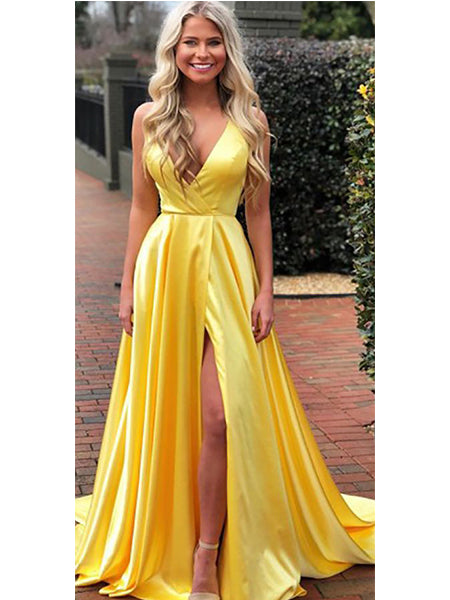 Satin Prom Dresses Formal Dresses Wedding Party Dresses with Slit LPD312 - LaRovias