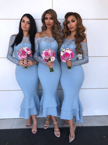 Trumpet Bridesmaid Dresses with Long Sleeves BM034 - LaRovias