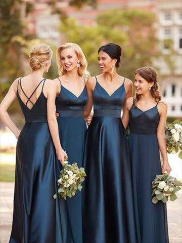 Floor Length Bridesmaid Dresses with Spaghetti Straps BM036 - LaRovias