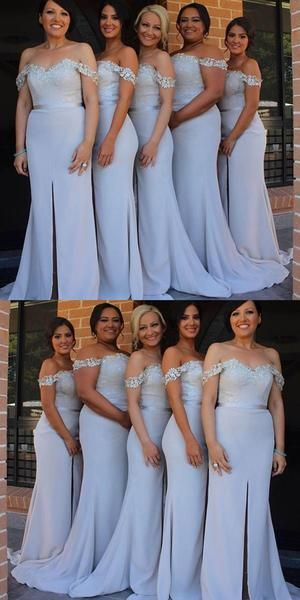 Off the Shoulder Floor Length Bridesmaid Dresses BM038 - LaRovias