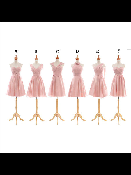 Pink Short Chiffon Bridesmaid Dresses BM003 - LaRovias