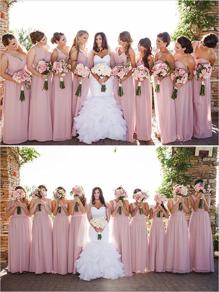 Chiffon Floor Length Bridesmaid Dresses BM047 - LaRovias