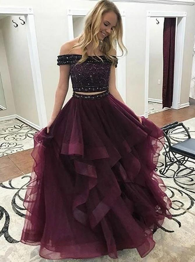 Two Pieces Formal Dresses Prom Dresses Wedding Party Dresses LPD499 - LaRovias