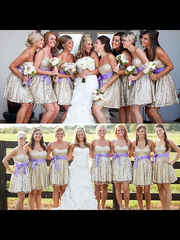 Shiny Knee Length Bridesmaid Dresses BM049 - LaRovias