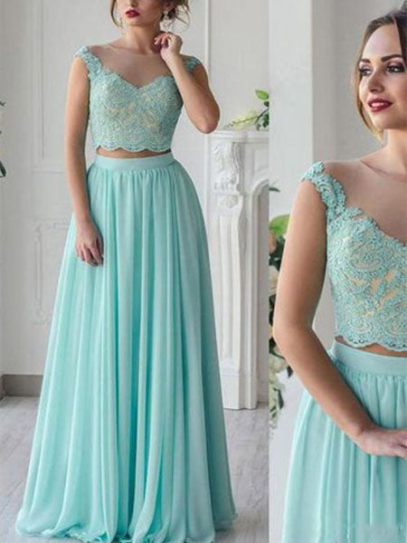 Two Pieces Chiffon and Lace Formal Dresses Prom Dresses Wedding Party Dresses LPD500 - LaRovias