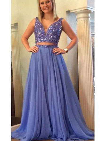 Two Pieces Formal Dresses Prom Dresses Wedding Party Dresses LPD501 - LaRovias