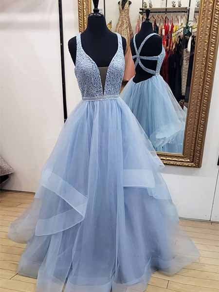 Beaded Tulle Prom Dresses Sweet 16 Dresses Wedding Party Dresses LPD528 - LaRovias