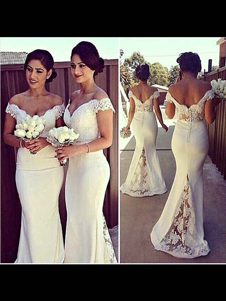 Lace Mermaid Floor Length Bridesmaid Dresses BM052 - LaRovias