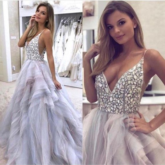 Beaded Tulle Prom Dresses Sweet 16 Dresses Wedding Party Dresses LPD537 - LaRovias