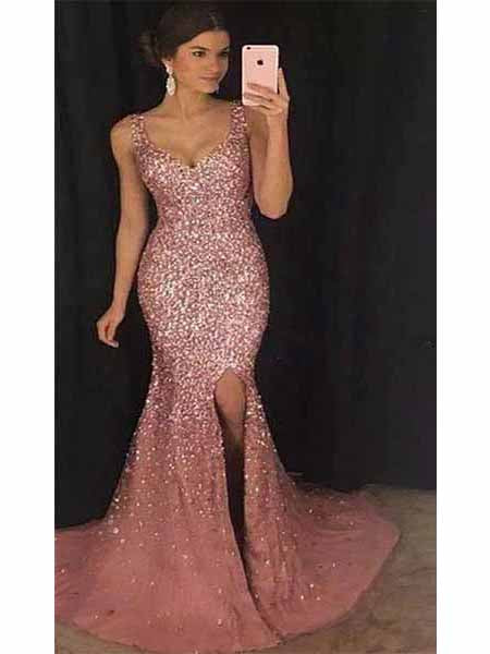 Beaded Mermaid Prom Dresses Sweet 16 Dresses Wedding Party Dresses LPD539 - LaRovias