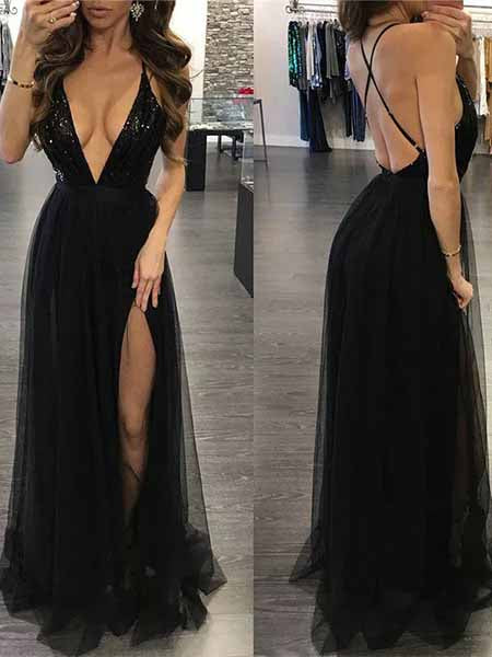 Sexy Black Prom Dresses Wedding Party Dresses with Slit LPD547 - LaRovias
