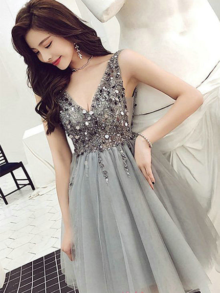Sequined Tulle Homecoming Dresses Sweet 16 Dresses Wedding Party Dresses LPD554 - LaRovias