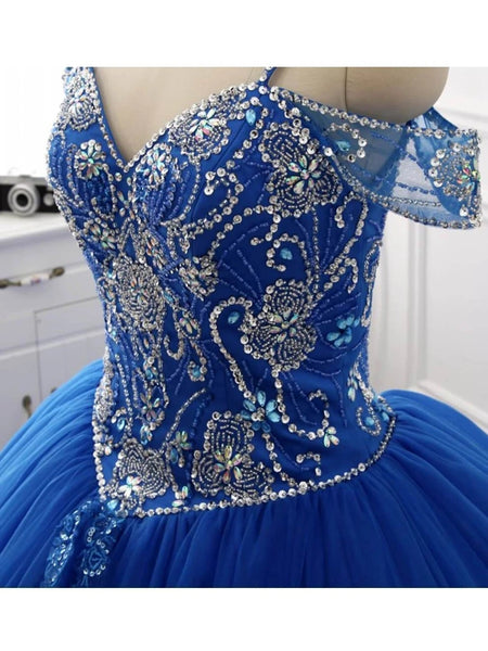 Ball Gown Off the Shoulder Royal Blue Prom Dresses Wedding Party Dresses LPD558 - LaRovias
