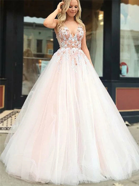 Tulle and Lace Prom Dress Wedding Party Dresses LPD564 - LaRovias