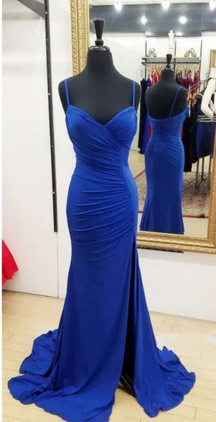 Royal Blue Prom Dresses Wedding Party Dresses with Slit LPD569 - LaRovias