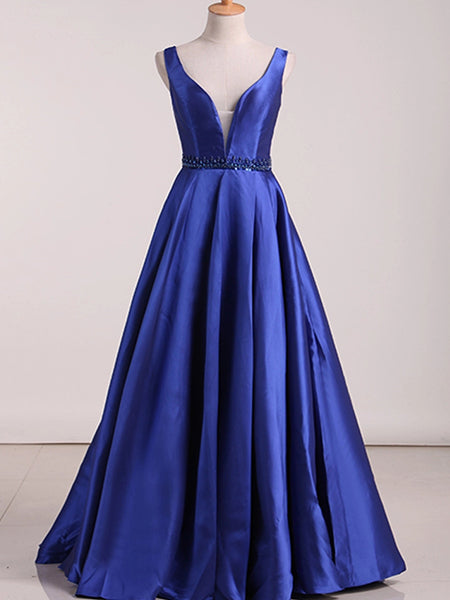A Line Royal Blue Prom Dresses Wedding Party Dresses LPD570 - LaRovias