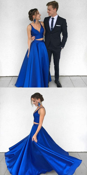 Two Pieces Royal Blue Prom Dresses Wedding Party Dresses LPD574 - LaRovias