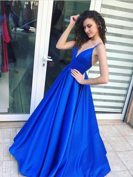 Royal Blue Prom Dresses Wedding Party Dresses with Spaghetti Straps LPD575 - LaRovias