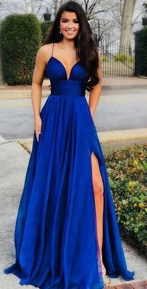 Royal Blue Prom Dresses Wedding Party Dresses with Slit LPD577 - LaRovias