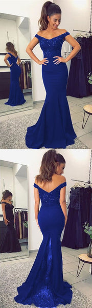 Mermaid Royal Blue Prom Dresses Wedding Party Dresses LPD578 - LaRovias