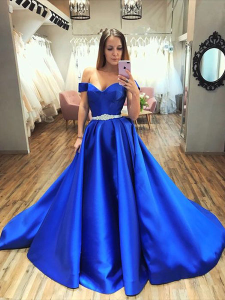 Off the Shoulder Royal Blue Prom Dresses Wedding Party Dresses LPD581 - LaRovias