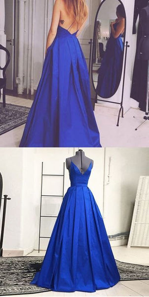 A Line Royal Blue Prom Dresses Wedding Party Dresses LPD582 - LaRovias