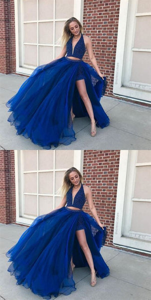 Two Pieces Royal Blue Prom Dresses Wedding Party Dresses LPD584 - LaRovias