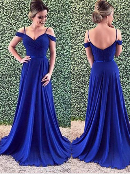 Off the Shoulder Chiffon Royal Blue Prom Dresses Wedding Party Dresses LPD586 - LaRovias