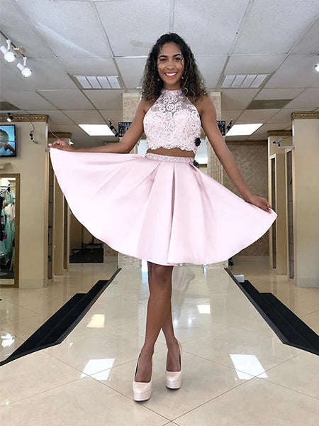 Two Pieces Sweet 16 Dresses Homecoming Dresses Wedding Party Dresses LPD598 - LaRovias