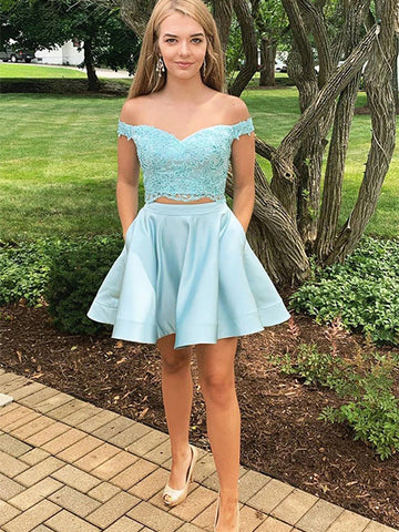 Two Pieces Sweet 16 Dresses Homecoming Dresses Wedding Party Dresses LPD602 - LaRovias