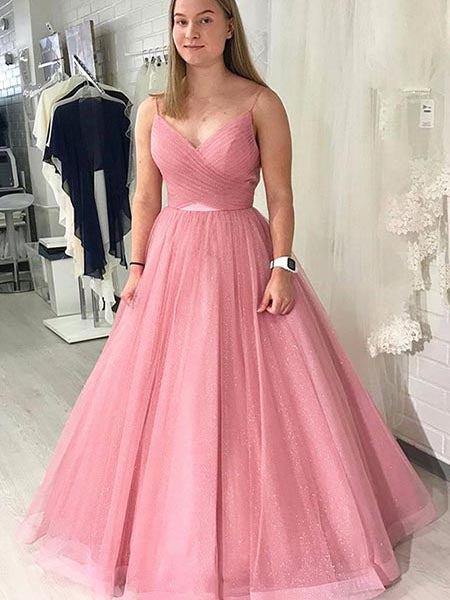 Pink Shiny Tulle Prom Dresses Wedding Party Dresses LPD620 - LaRovias