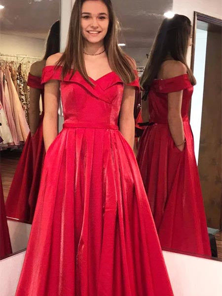 Off the Shoulder Satin Prom Dresses Wedding Party Dresses LPD629 - LaRovias