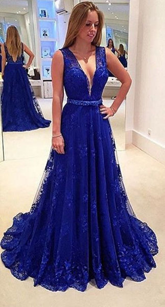 Royal Blue Lace Prom Dresses Wedding Party Dresses LPD640 - LaRovias