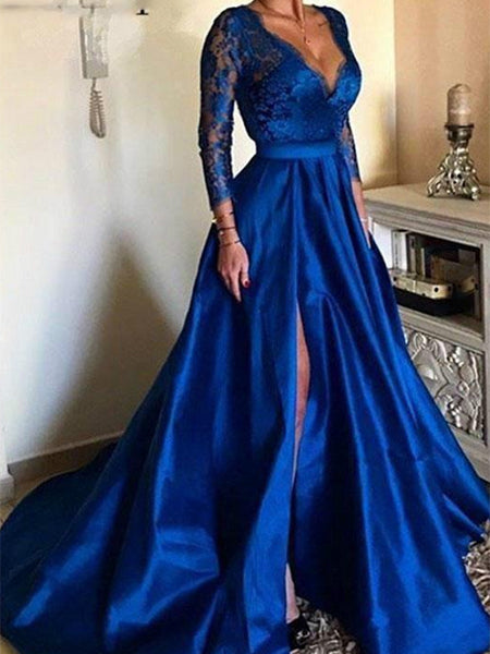 Royal Blue Lace Prom Dresses Wedding Party Dresses with Long Sleeves LPD642 - LaRovias