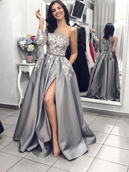 Satin and Lace Prom Dresses Wedding Party Dresses LPD646 - LaRovias