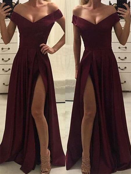Off the Shoulder Satin Prom Dresses Wedding Party Dresses LPD649 - LaRovias