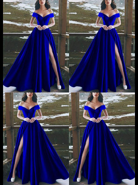 Royal Blue Off the Shoulder Prom Dresses Wedding Party Dresses with Slit LPD661 - LaRovias