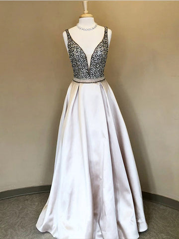 A Line Beaded Prom Dresses Wedding Party Dresses LPD674 - LaRovias