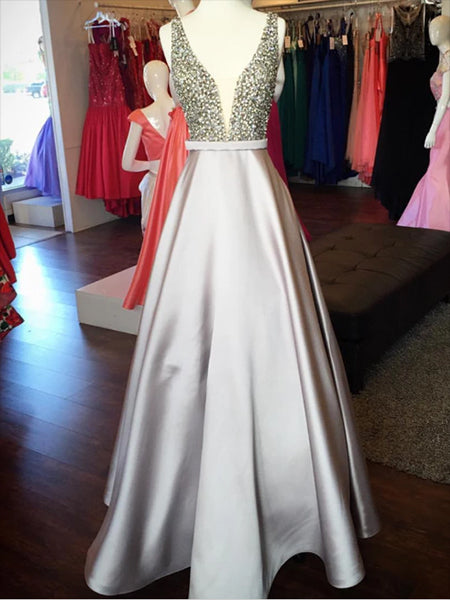 Beaded Satin Prom Dresses Wedding Party Dresses LPD690 - LaRovias