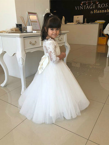 Tulle Flower Girl Dresses with Sleeves FG0056 - LaRovias
