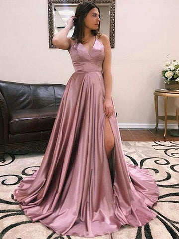 Satin Formal Dresses Prom Dresses Wedding Party Dresses with Slit LPD702 - LaRovias