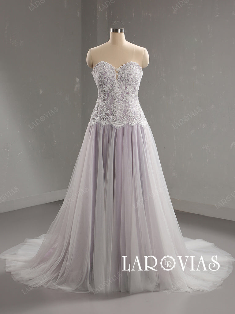 Lavender Lace and Tulle Wedding Dress Bridal Gown Lace Up Back LR089 - LaRovias