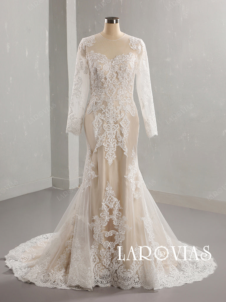 Lace and Tulle Wedding Dress Bridal Gown with Long Sleeves LR090 - LaRovias