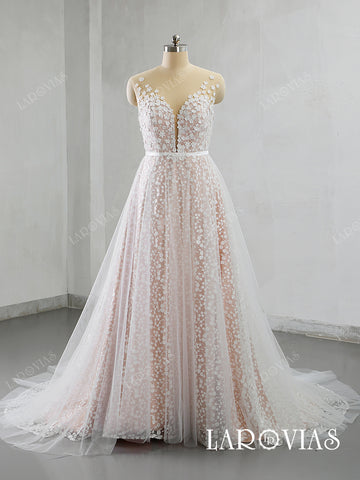 Unique A Line Lace Wedding Dresses Bridal Gowns Chapel Train LR044 - LaRovias