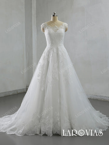 A Line Lace and Tulle Wedding Dresses Bridal Gowns Buttons Back LR046 - LaRovias